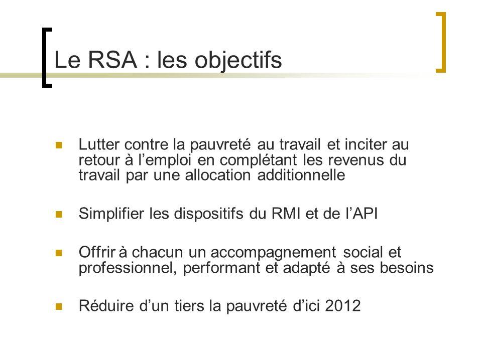 Le RSA : les objectifs Lutter contre la pauvreté au travail et inciter au retour à lemploi en complétant les revenus du travail par une allocation additionnelle Simplifier les dispositifs du RMI et de lAPI Offrir à chacun un accompagnement social et professionnel, performant et adapté à ses besoins Réduire dun tiers la pauvreté dici 2012
