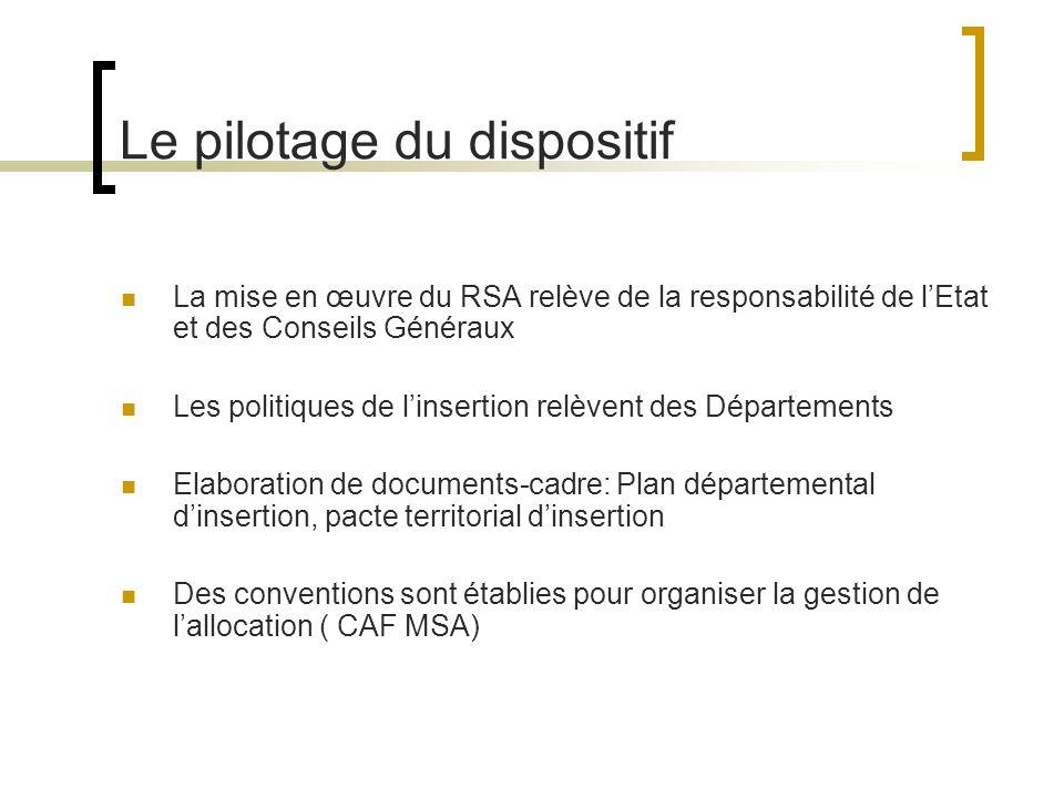 Le pilotage du dispositif La mise en œuvre du RSA relève de la responsabilité de lEtat et des Conseils Généraux Les politiques de linsertion relèvent des Départements Elaboration de documents-cadre: Plan départemental dinsertion, pacte territorial dinsertion Des conventions sont établies pour organiser la gestion de lallocation ( CAF MSA)