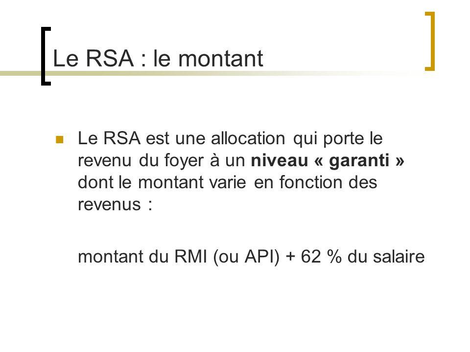 Le RSA : le montant Le RSA est une allocation qui porte le revenu du foyer à un niveau « garanti » dont le montant varie en fonction des revenus : montant du RMI (ou API) + 62 % du salaire