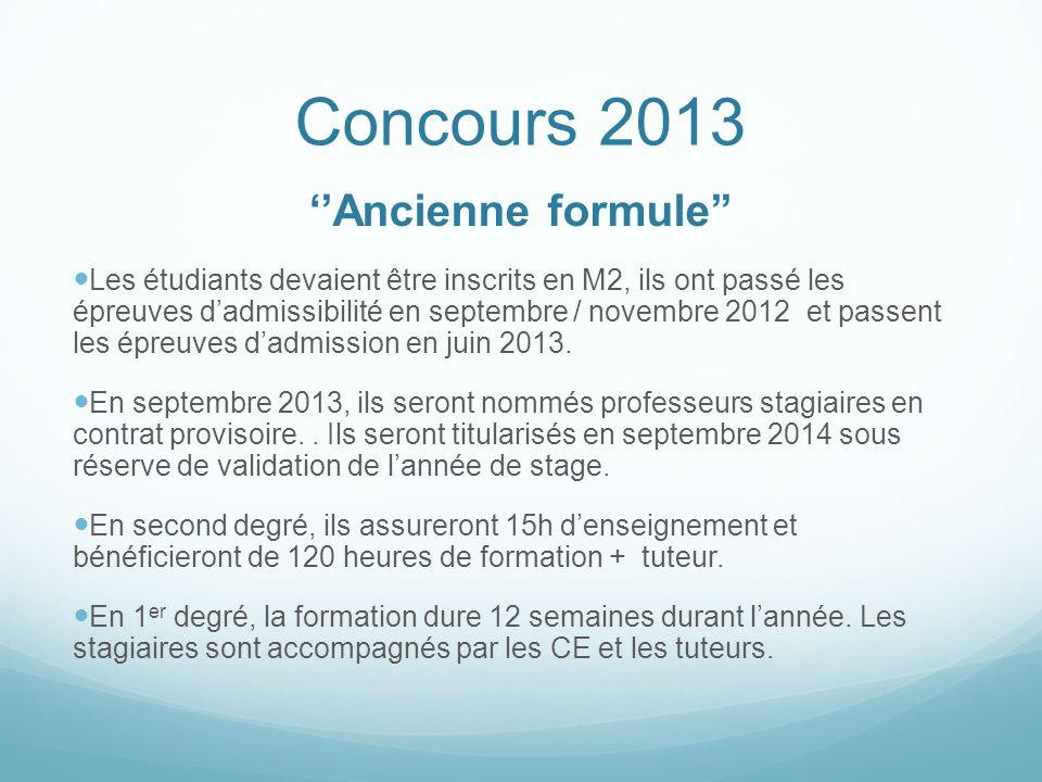 Concours 2013 Ancienne formule Les étudiants devaient être inscrits en M2, ils ont passé les épreuves dadmissibilité en septembre / novembre 2012 et p
