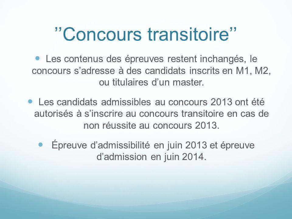 Concours transitoire Les contenus des épreuves restent inchangés, le concours sadresse à des candidats inscrits en M1, M2, ou titulaires dun master. L