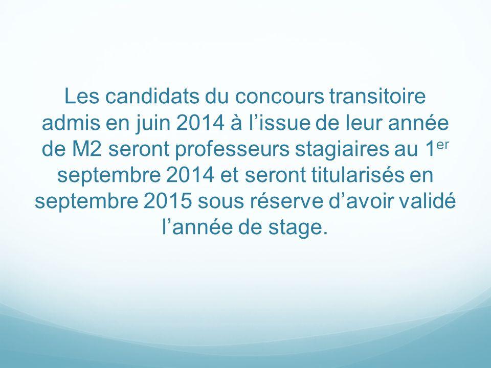 Les candidats du concours transitoire admis en juin 2014 à lissue de leur année de M2 seront professeurs stagiaires au 1 er septembre 2014 et seront t