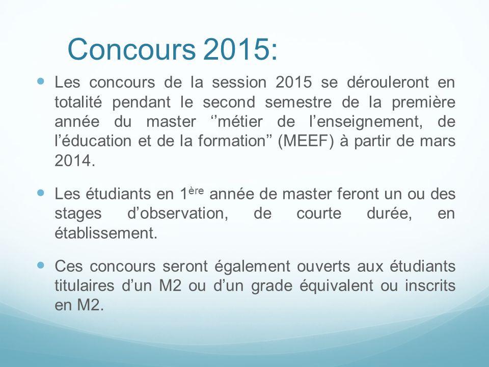 Les concours de la session 2015 se dérouleront en totalité pendant le second semestre de la première année du master métier de lenseignement, de léduc