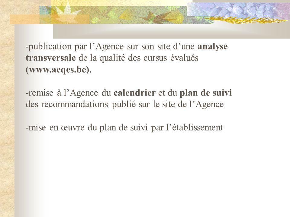-publication par lAgence sur son site dune analyse transversale de la qualité des cursus évalués (www.aeqes.be).