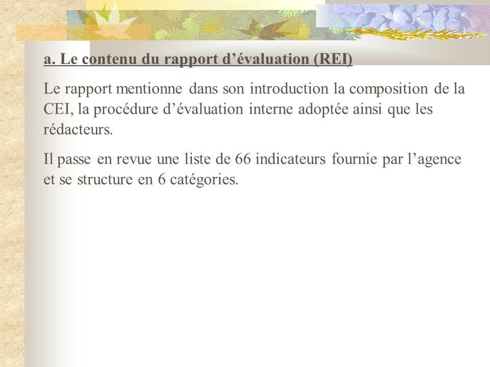 a. Le contenu du rapport dévaluation (REI) Le rapport mentionne dans son introduction la composition de la CEI, la procédure dévaluation interne adopt