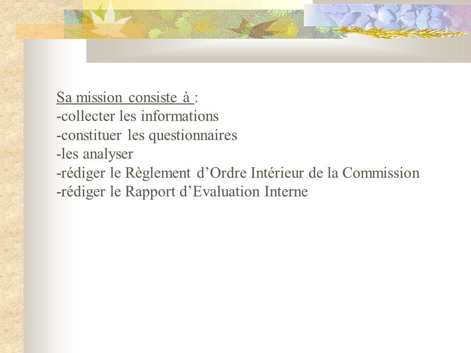 Sa mission consiste à : -collecter les informations -constituer les questionnaires -les analyser -rédiger le Règlement dOrdre Intérieur de la Commission -rédiger le Rapport dEvaluation Interne