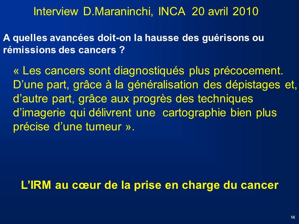 « Les cancers sont diagnostiqués plus précocement. Dune part, grâce à la généralisation des dépistages et, dautre part, grâce aux progrès des techniqu