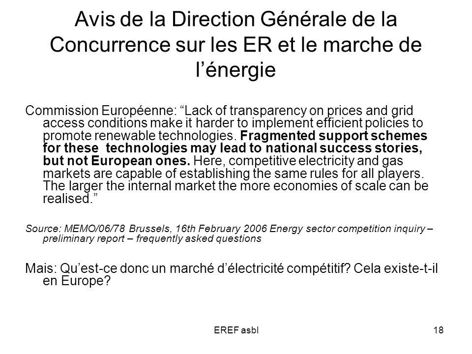 EREF asbl18 Avis de la Direction Générale de la Concurrence sur les ER et le marche de lénergie Commission Européenne: Lack of transparency on prices and grid access conditions make it harder to implement efficient policies to promote renewable technologies.