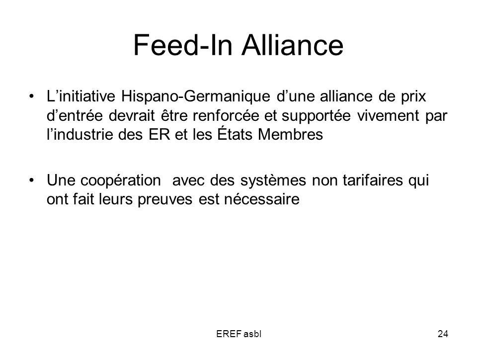 EREF asbl24 Feed-In Alliance Linitiative Hispano-Germanique dune alliance de prix dentrée devrait être renforcée et supportée vivement par lindustrie des ER et les États Membres Une coopération avec des systèmes non tarifaires qui ont fait leurs preuves est nécessaire