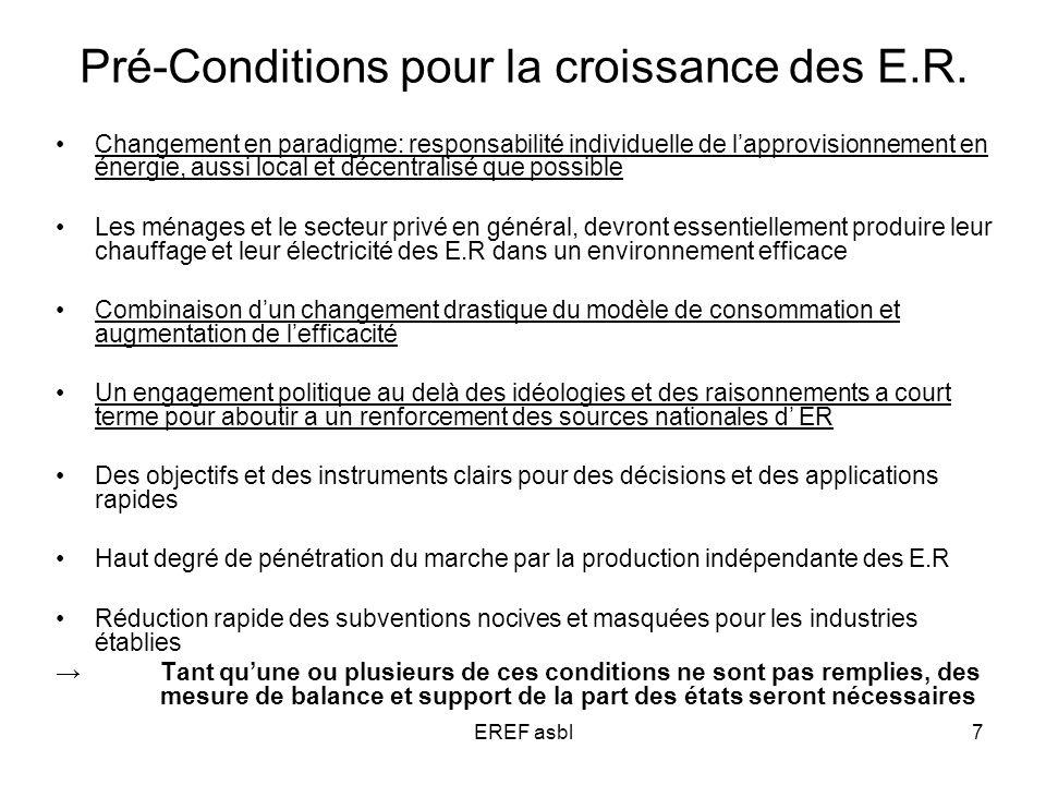 EREF asbl7 Pré-Conditions pour la croissance des E.R. Changement en paradigme: responsabilité individuelle de lapprovisionnement en énergie, aussi loc