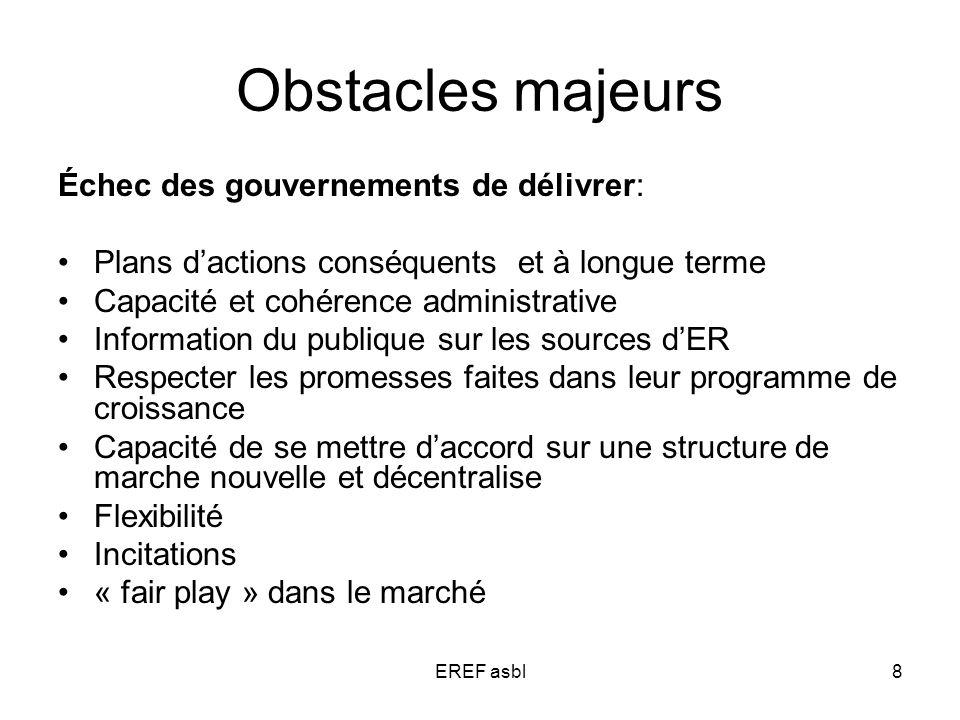 EREF asbl8 Obstacles majeurs Échec des gouvernements de délivrer: Plans dactions conséquents et à longue terme Capacité et cohérence administrative In