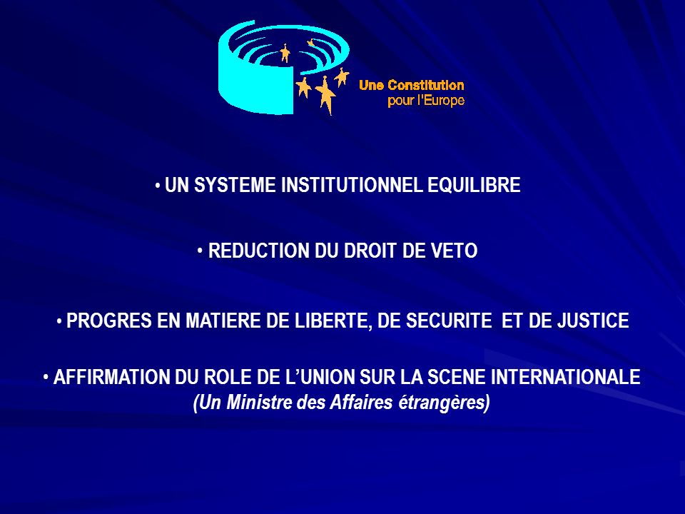 UN SYSTEME INSTITUTIONNEL EQUILIBRE REDUCTION DU DROIT DE VETO PROGRES EN MATIERE DE LIBERTE, DE SECURITE ET DE JUSTICE AFFIRMATION DU ROLE DE LUNION