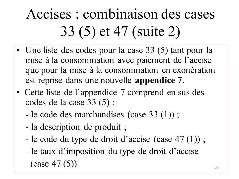 10 Accises : combinaison des cases 33 (5) et 47 (suite 2) Une liste des codes pour la case 33 (5) tant pour la mise à la consommation avec paiement de laccise que pour la mise à la consommation en exonération est reprise dans une nouvelle appendice 7.