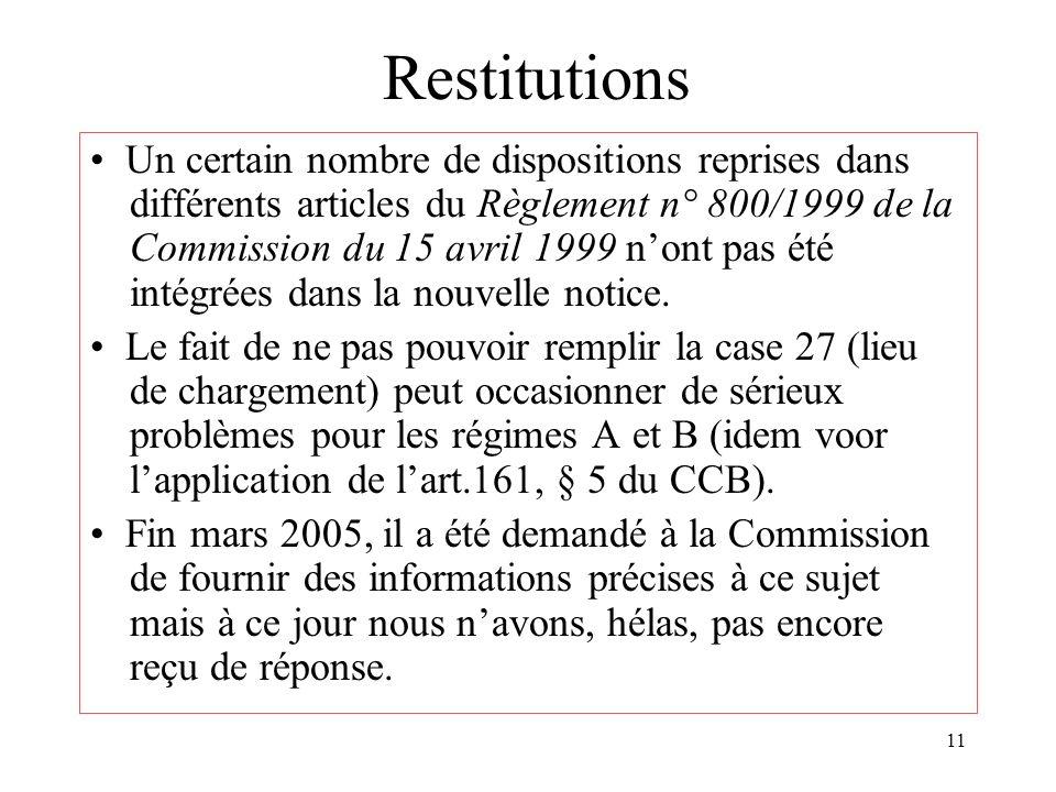 11 Restitutions Un certain nombre de dispositions reprises dans différents articles du Règlement n° 800/1999 de la Commission du 15 avril 1999 nont pas été intégrées dans la nouvelle notice.