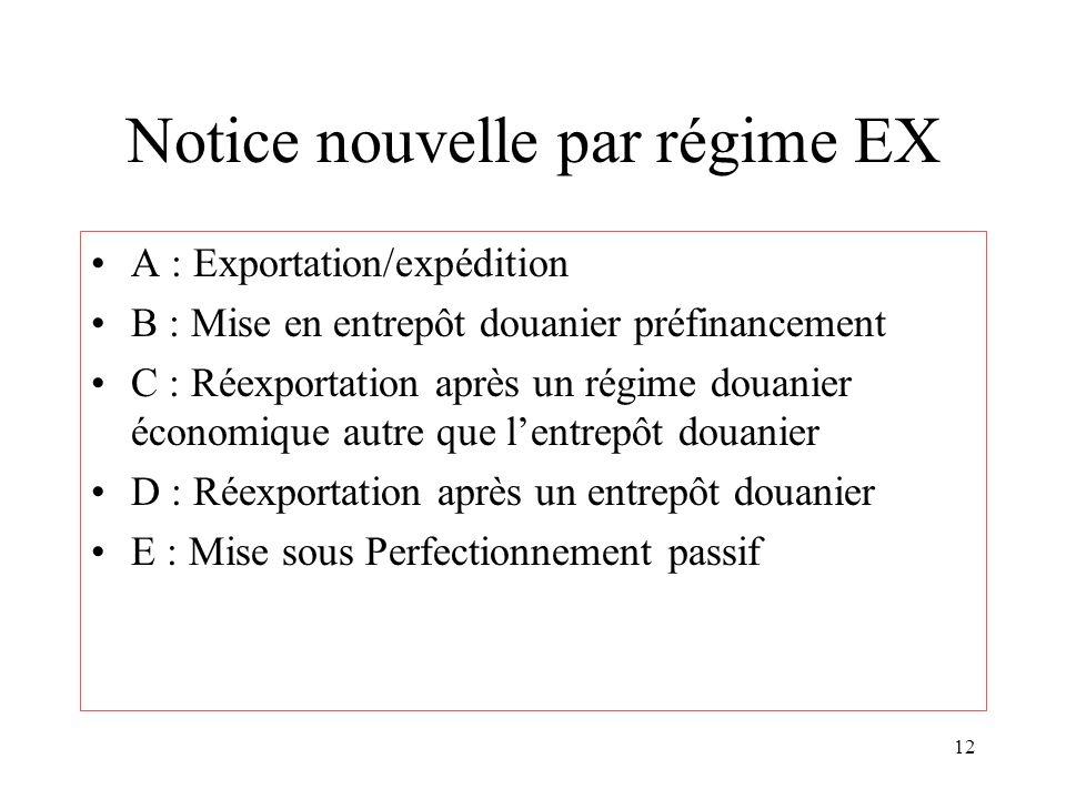 12 Notice nouvelle par régime EX A : Exportation/expédition B : Mise en entrepôt douanier préfinancement C : Réexportation après un régime douanier économique autre que lentrepôt douanier D : Réexportation après un entrepôt douanier E : Mise sous Perfectionnement passif