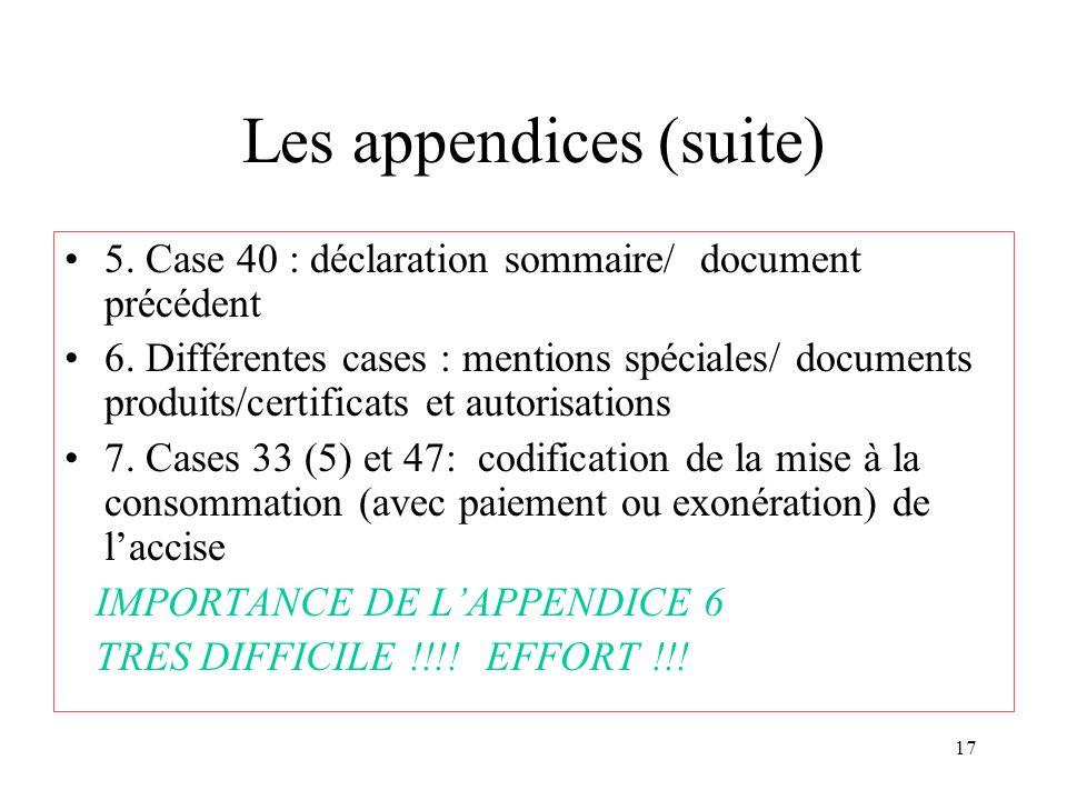 17 Les appendices (suite) 5. Case 40 : déclaration sommaire/ document précédent 6.