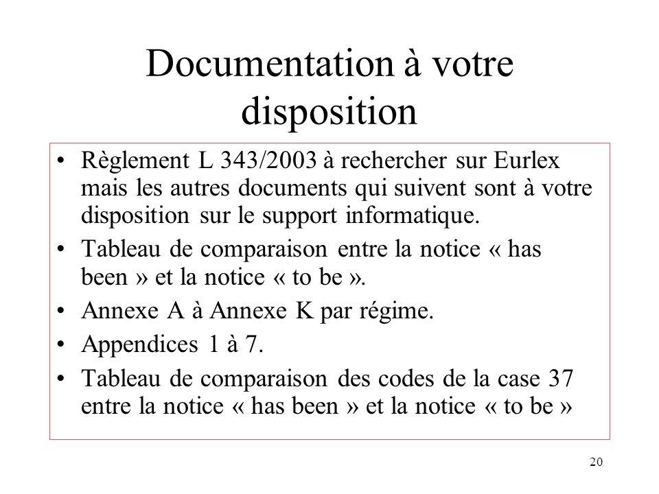 20 Documentation à votre disposition Règlement L 343/2003 à rechercher sur Eurlex mais les autres documents qui suivent sont à votre disposition sur le support informatique.