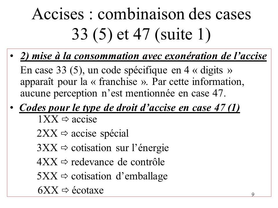 9 Accises : combinaison des cases 33 (5) et 47 (suite 1) 2) mise à la consommation avec exonération de laccise En case 33 (5), un code spécifique en 4 « digits » apparaît pour la « franchise ».