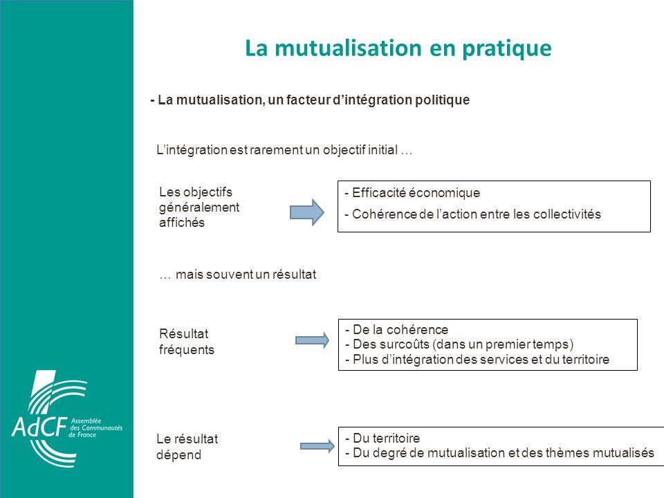 La mutualisation en pratique - La mutualisation, un facteur dintégration politique Lintégration est rarement un objectif initial … - Efficacité économ