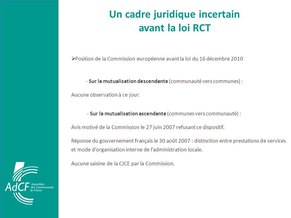 Un cadre juridique incertain avant la loi RCT Position de la Commission européenne avant la loi du 16 décembre 2010 - Sur la mutualisation descendante