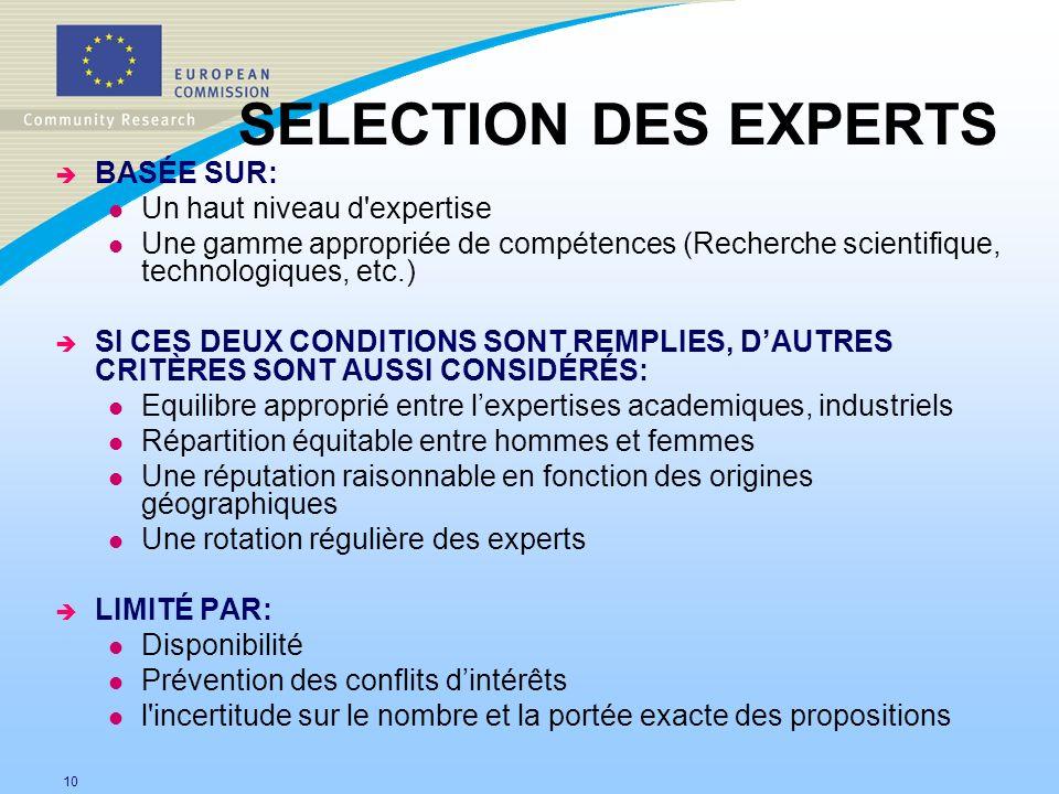 10 SELECTION DES EXPERTS è BASÉE SUR: l Un haut niveau d'expertise l Une gamme appropriée de compétences (Recherche scientifique, technologiques, etc.