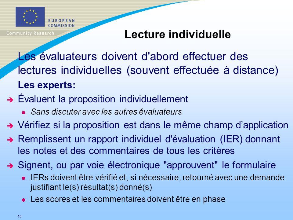 15 Les évaluateurs doivent d'abord effectuer des lectures individuelles (souvent effectuée à distance) Les experts: è Évaluent la proposition individu