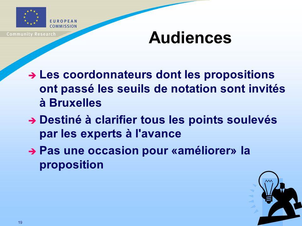 19 Audiences è Les coordonnateurs dont les propositions ont passé les seuils de notation sont invités à Bruxelles è Destiné à clarifier tous les points soulevés par les experts à l avance è Pas une occasion pour «améliorer» la proposition