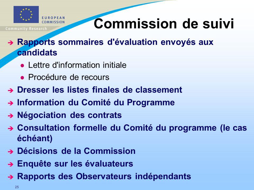 25 Commission de suivi è Rapports sommaires d'évaluation envoyés aux candidats l Lettre d'information initiale l Procédure de recours è Dresser les li