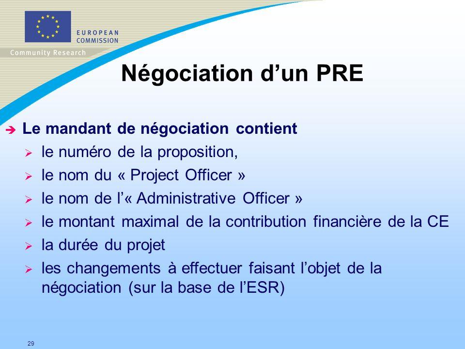 29 Négociation dun PRE è Le mandant de négociation contient le numéro de la proposition, le nom du « Project Officer » le nom de l« Administrative Off