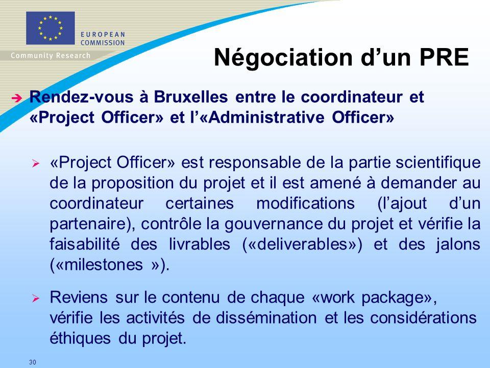 30 Négociation dun PRE è Rendez-vous à Bruxelles entre le coordinateur et «Project Officer» et l«Administrative Officer» «Project Officer» est respons