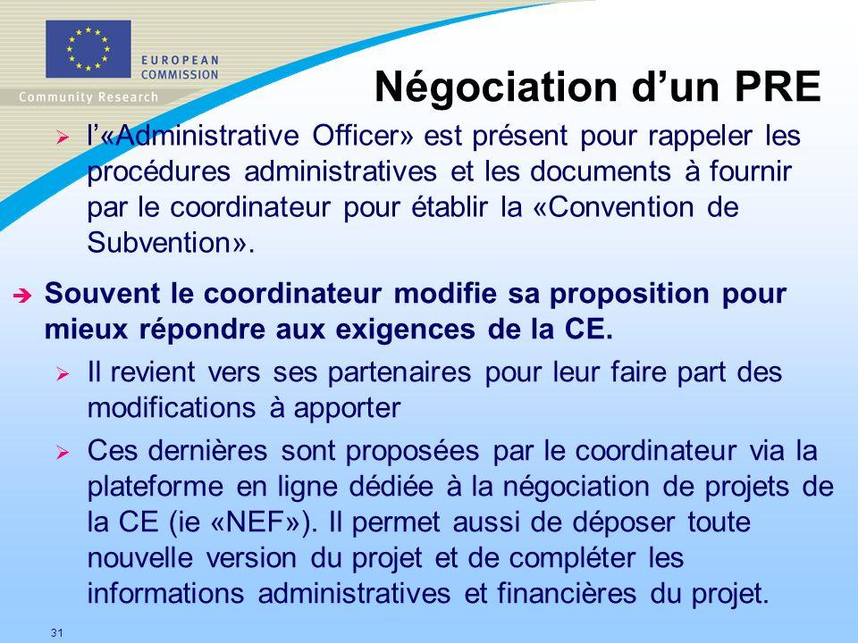 31 Négociation dun PRE è Souvent le coordinateur modifie sa proposition pour mieux répondre aux exigences de la CE. Il revient vers ses partenaires po