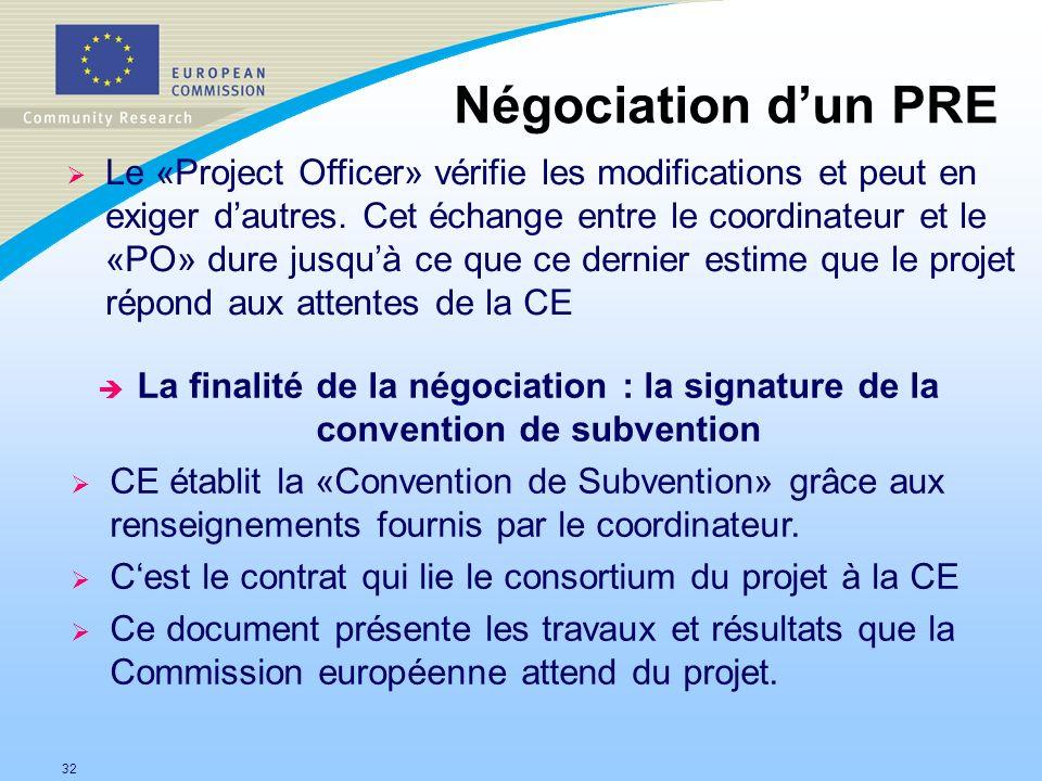 32 Négociation dun PRE Le «Project Officer» vérifie les modifications et peut en exiger dautres. Cet échange entre le coordinateur et le «PO» dure jus