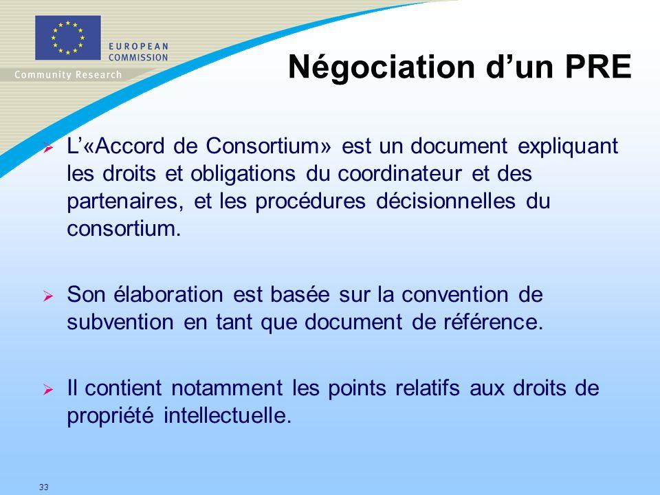 33 Négociation dun PRE L«Accord de Consortium» est un document expliquant les droits et obligations du coordinateur et des partenaires, et les procédures décisionnelles du consortium.
