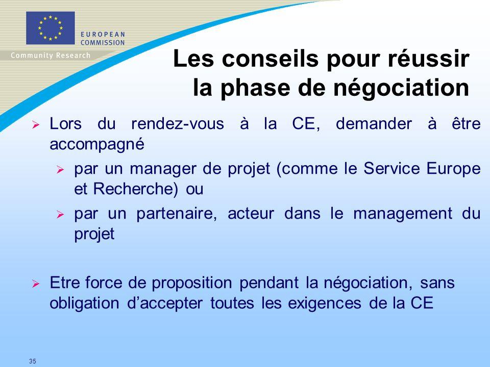35 Les conseils pour réussir la phase de négociation Lors du rendez-vous à la CE, demander à être accompagné par un manager de projet (comme le Servic
