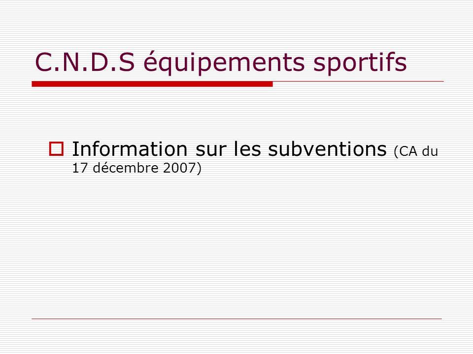 C.N.D.S équipements sportifs Information sur les subventions (CA du 17 décembre 2007)