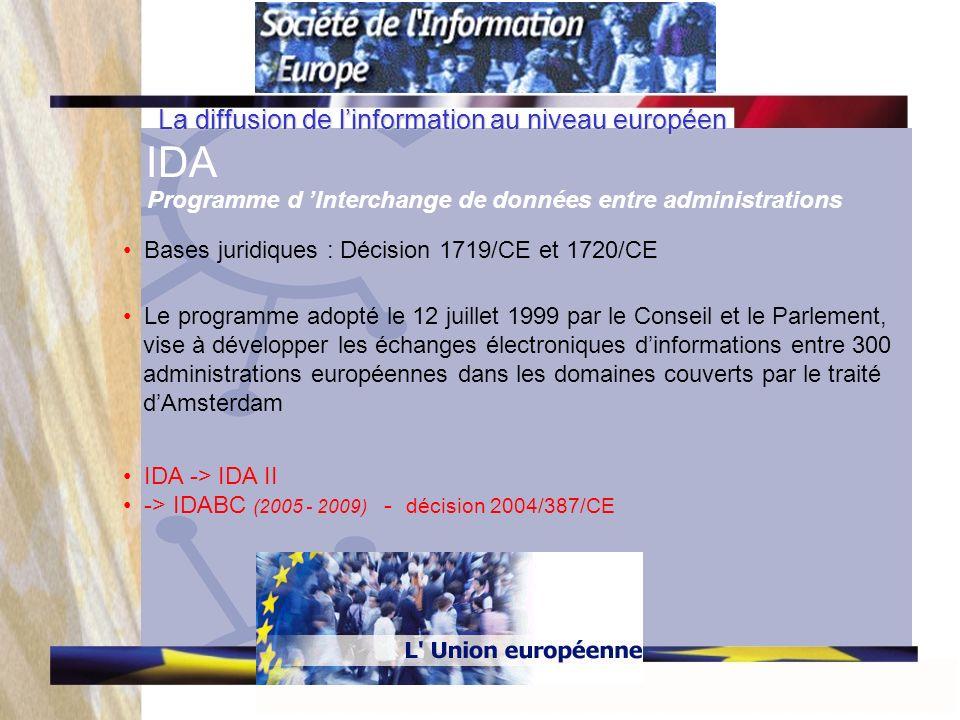 La diffusion de linformation au niveau européen IDA Programme d Interchange de données entre administrations Bases juridiques : Décision 1719/CE et 1720/CE Le programme adopté le 12 juillet 1999 par le Conseil et le Parlement, vise à développer les échanges électroniques dinformations entre 300 administrations européennes dans les domaines couverts par le traité dAmsterdam IDA -> IDA II -> IDABC (2005 - 2009) - décision 2004/387/CE