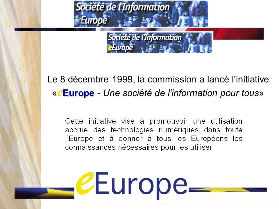 Europe Le 8 décembre 1999, la commission a lancé linitiative « e Europe - Une société de linformation pour tous»