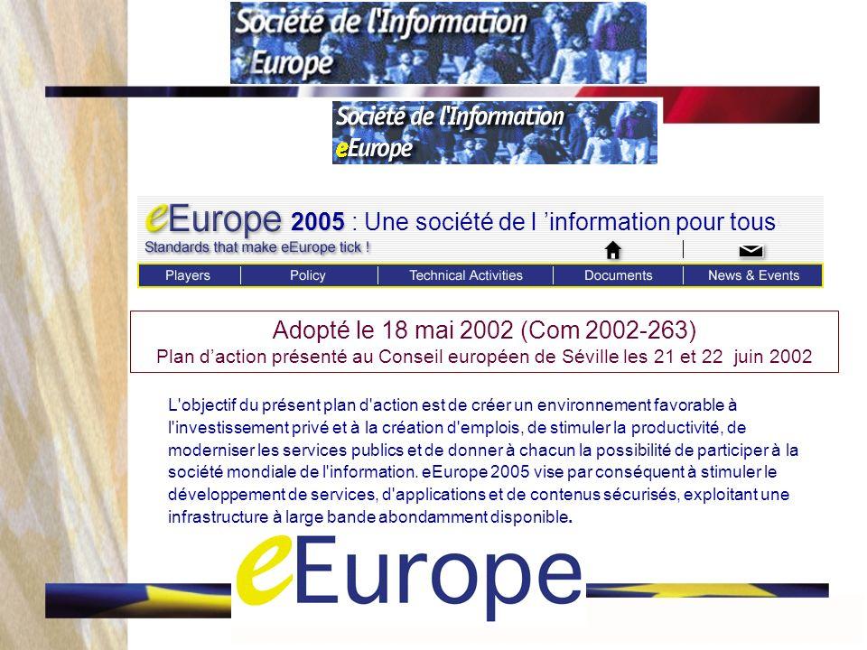 Adopté le 18 mai 2002 (Com 2002-263) Plan daction présenté au Conseil européen de Séville les 21 et 22 juin 2002 L objectif du présent plan d action est de créer un environnement favorable à l investissement privé et à la création d emplois, de stimuler la productivité, de moderniser les services publics et de donner à chacun la possibilité de participer à la société mondiale de l information.