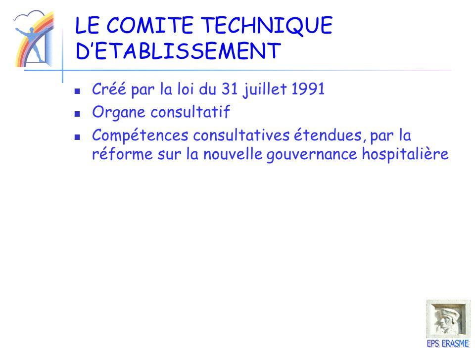 LE COMITE TECHNIQUE DETABLISSEMENT Créé par la loi du 31 juillet 1991 Organe consultatif Compétences consultatives étendues, par la réforme sur la nou