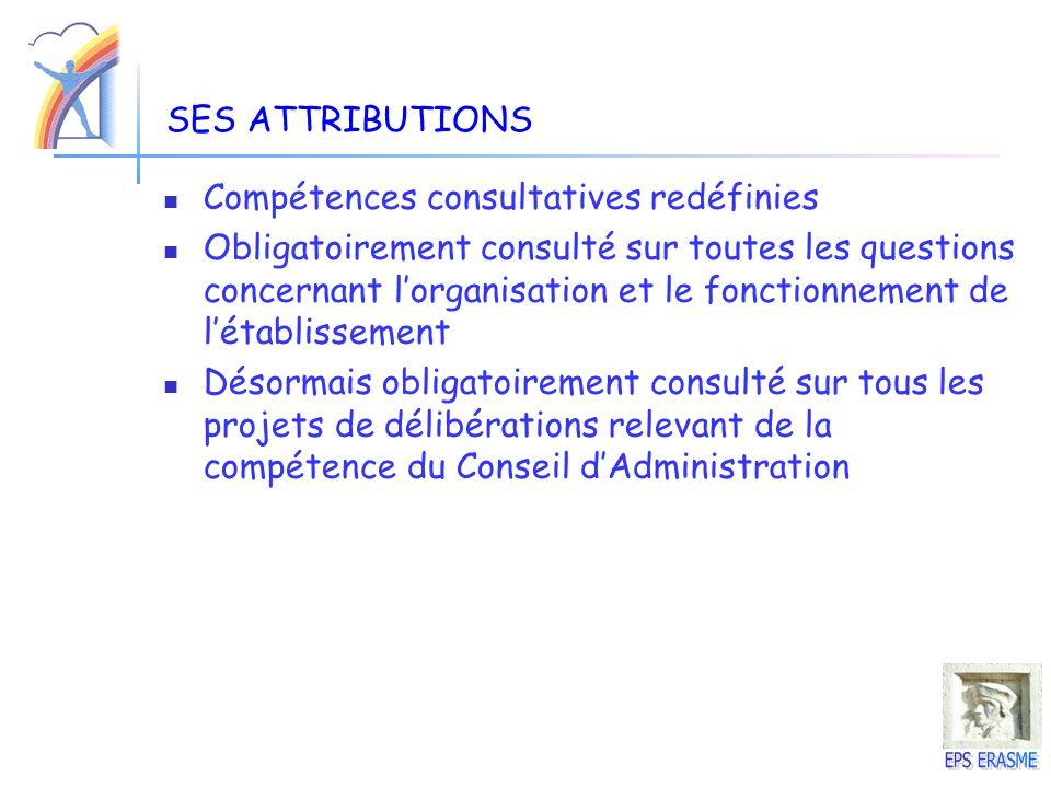 SES ATTRIBUTIONS Compétences consultatives redéfinies Obligatoirement consulté sur toutes les questions concernant lorganisation et le fonctionnement