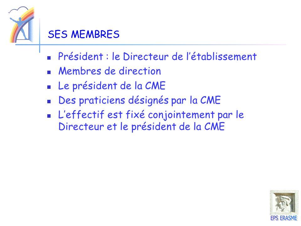 SES MEMBRES Président : le Directeur de létablissement Membres de direction Le président de la CME Des praticiens désignés par la CME Leffectif est fi