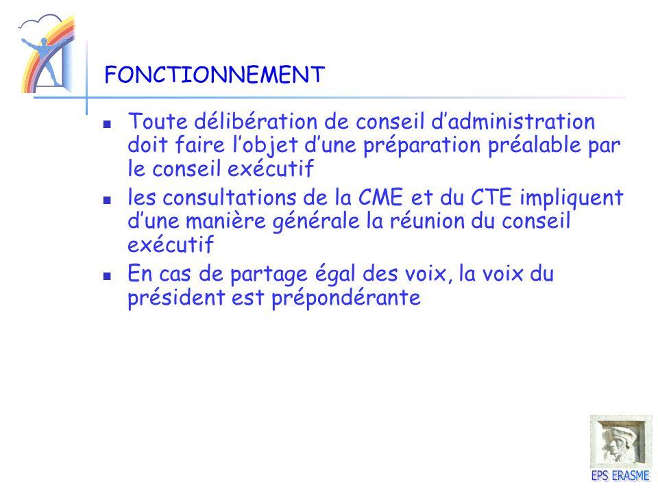 FONCTIONNEMENT Toute délibération de conseil dadministration doit faire lobjet dune préparation préalable par le conseil exécutif les consultations de