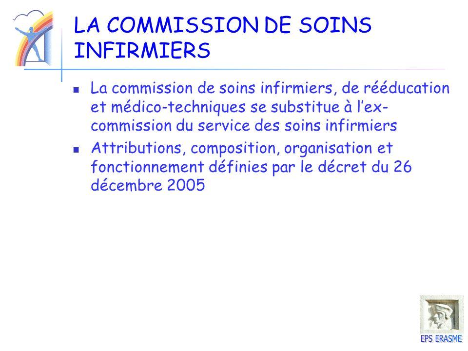 LA COMMISSION DE SOINS INFIRMIERS La commission de soins infirmiers, de rééducation et médico-techniques se substitue à lex- commission du service des