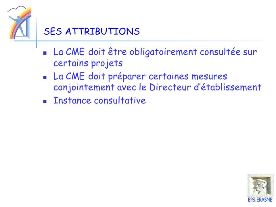 SES ATTRIBUTIONS La CME doit être obligatoirement consultée sur certains projets La CME doit préparer certaines mesures conjointement avec le Directeu