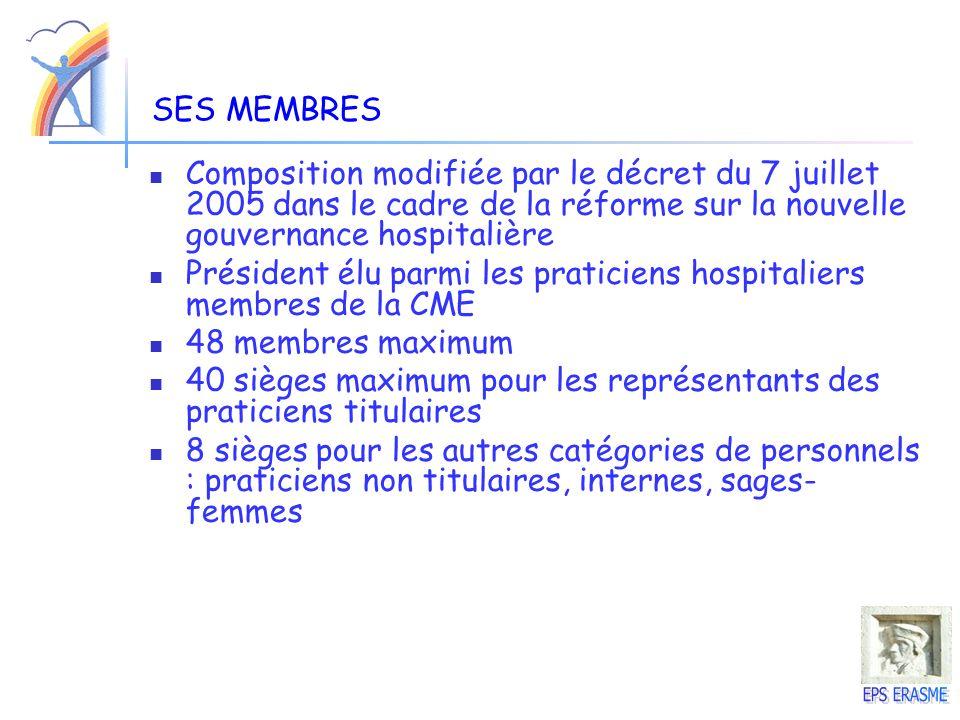 SES MEMBRES Composition modifiée par le décret du 7 juillet 2005 dans le cadre de la réforme sur la nouvelle gouvernance hospitalière Président élu pa