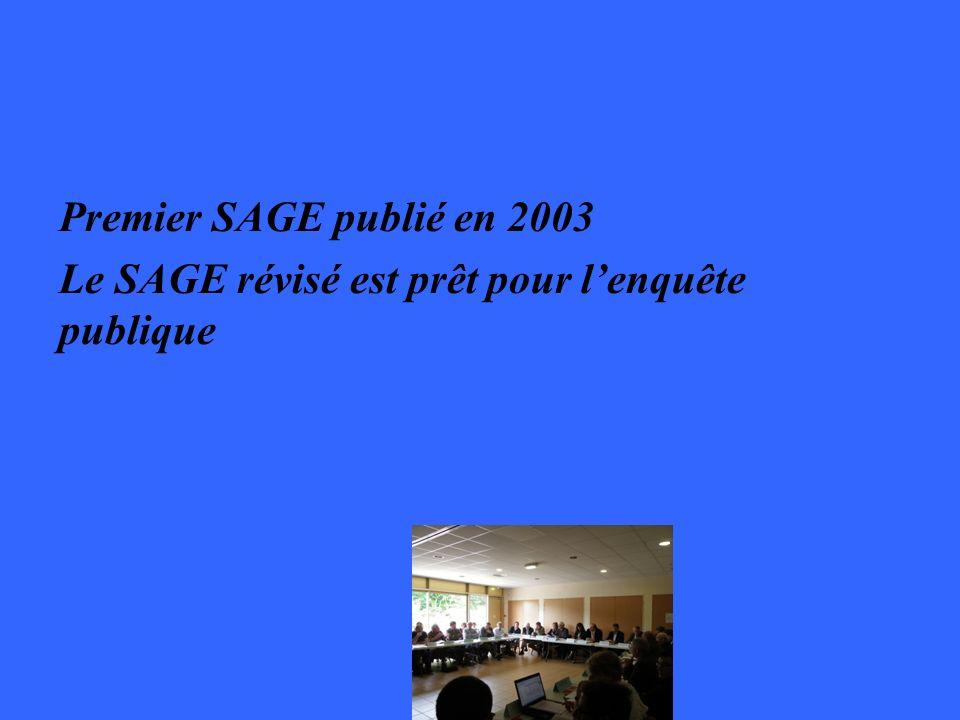 Premier SAGE publié en 2003 Le SAGE révisé est prêt pour lenquête publique