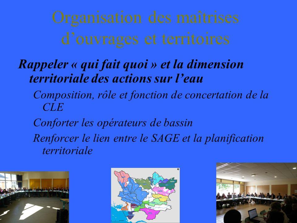 Organisation des maîtrises douvrages et territoires Rappeler « qui fait quoi » et la dimension territoriale des actions sur leau Composition, rôle et