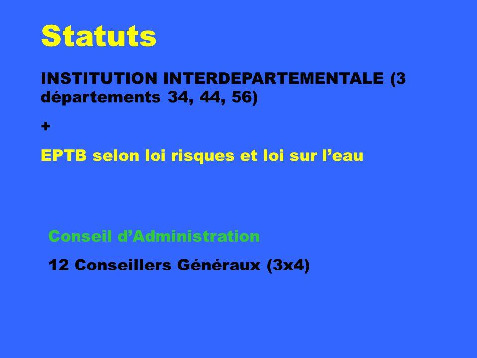 Statuts INSTITUTION INTERDEPARTEMENTALE (3 départements 34, 44, 56) + EPTB selon loi risques et loi sur leau Conseil dAdministration 12 Conseillers Gé