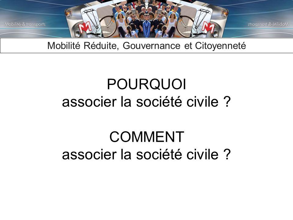 Mobilité Réduite, Gouvernance et Citoyenneté COMMENT associer la société civile .