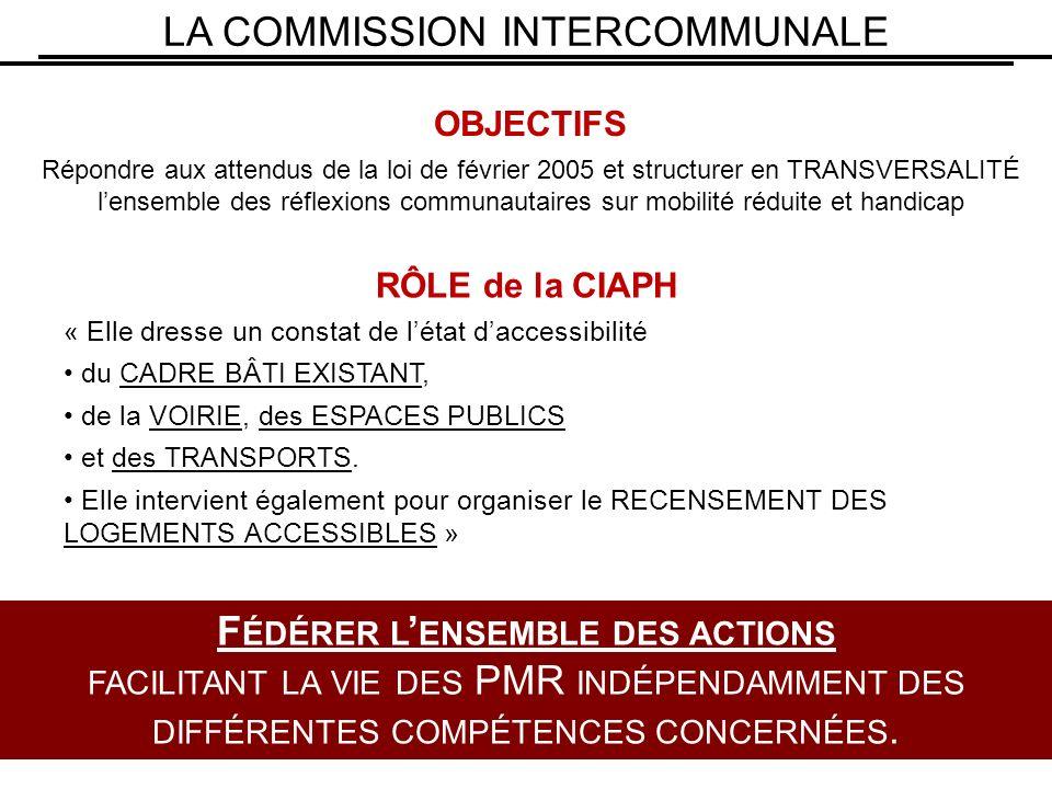 LA COMMISSION INTERCOMMUNALE OBJECTIFS Répondre aux attendus de la loi de février 2005 et structurer en TRANSVERSALITÉ lensemble des réflexions communautaires sur mobilité réduite et handicap F ÉDÉRER L ENSEMBLE DES ACTIONS FACILITANT LA VIE DES PMR INDÉPENDAMMENT DES DIFFÉRENTES COMPÉTENCES CONCERNÉES.